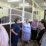 <em>A groom explaining stables facilities</em><br />A groom explaining the facilities